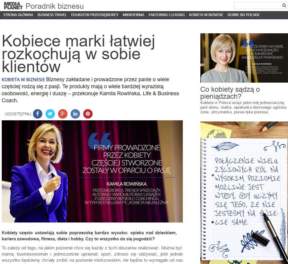 Kobiece marki łatwiej rozkochują w sobie klientów - artykuł Kamili Rowińskiej dla dodatku do Rzeczpospolitej