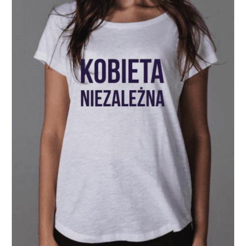 Biała koszulka Kobieta Niezależna z granatowym napisem