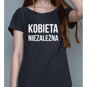 Czarna koszulka Kobieta Niezależna z białym napisem