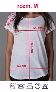 Rozmiarówka białej koszulki z napisem Kobieta Niezależna w rozmiarze M