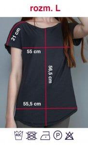 Rozmiarówka czarnej koszulki z napisem Kobieta Niezależna w rozmiarze L