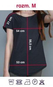 Rozmiarówka czarnej koszulki z napisem Kobieta Niezależna w rozmiarze M