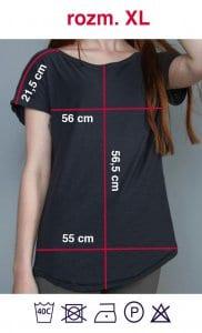 Rozmiarówka czarnej koszulki z napisem Kobieta Niezależna w rozmiarze XL