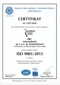 Certyfikat ISO RBC